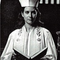 Cantor Sheila Cline black and white photo in her ordination robes in 1976