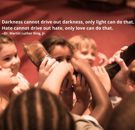 Photo with children touching a shorfar. Quote: Darkness cannot drive out darkness, only light can do that. Hate cannot drive out hate, only love can do that.